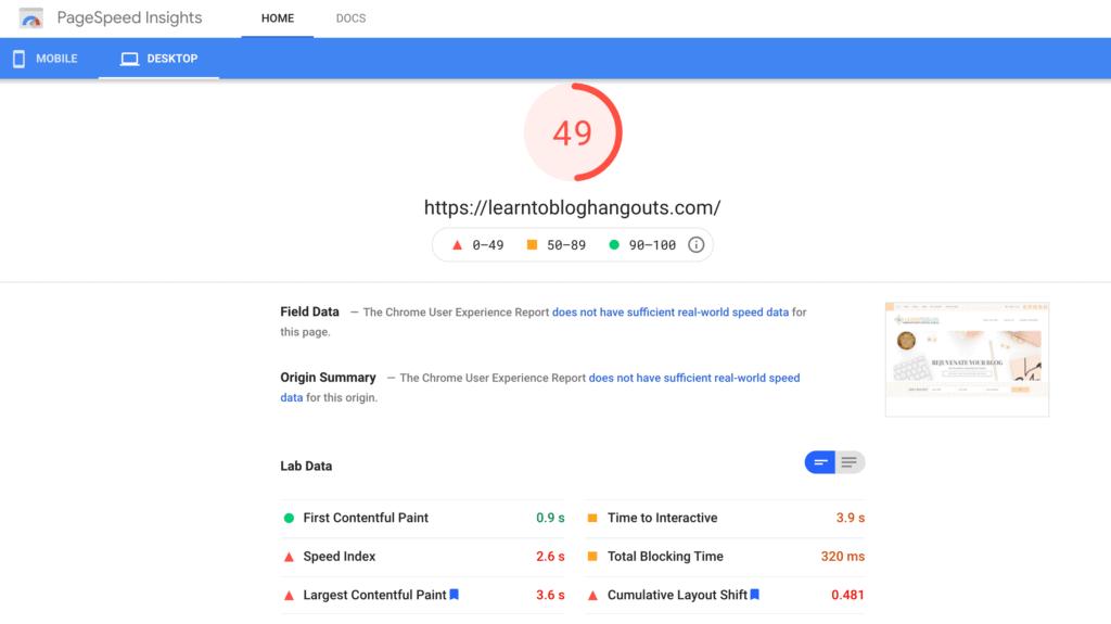 google webmaster tools site speed